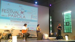 """Presentazione """"Mia Martini. Almeno tu nell'universo"""" con Leda Bertè e il chitarrista Giandomenico Anellinoa Parma, Festival della Parola, Workout Pasubio, 5 luglio 2015"""